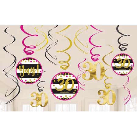 Over the Hill 'Hot Pink and Gold' 30th Birthday Hanging Swirl Decorations (12pc) (Golden Birthday Decorations)
