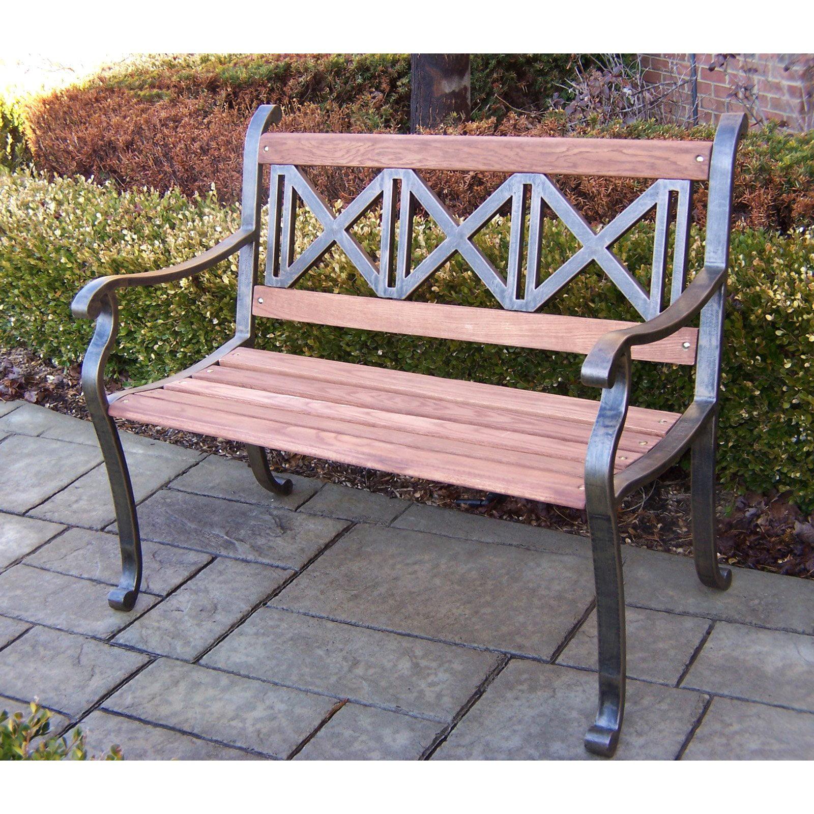 Oakland living triple cross tubular iron and wood bench in antique bronze finish walmart com