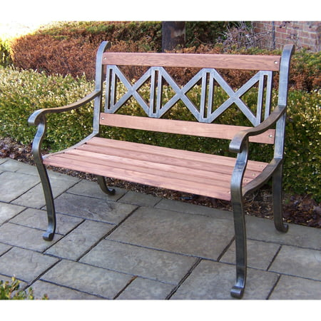 Oakland Living Triple Cross Tubular Iron and Wood Bench in Antique Bronze Finish ()