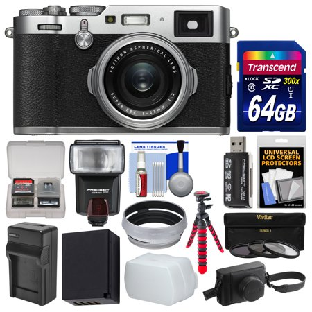 Fujifilm X100F Wi-Fi Digital Camera (Silver) with Leather Case + 64GB Card  + Case + Flash + Battery/Charger + Tripod + Filters Kit