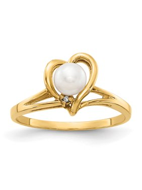 14k Yellow Gold 4.5mm Freshwater Cultured Pearl H-I SI2 Quality Diamond ring