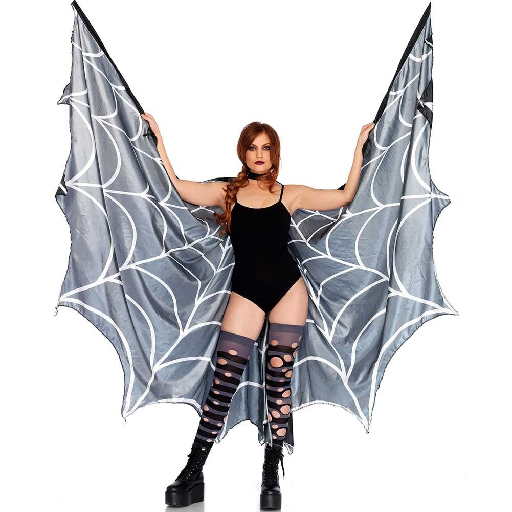 Leg Avenue Spiderweb Halter Wing Cape with Wrist Straps and Support Sticks