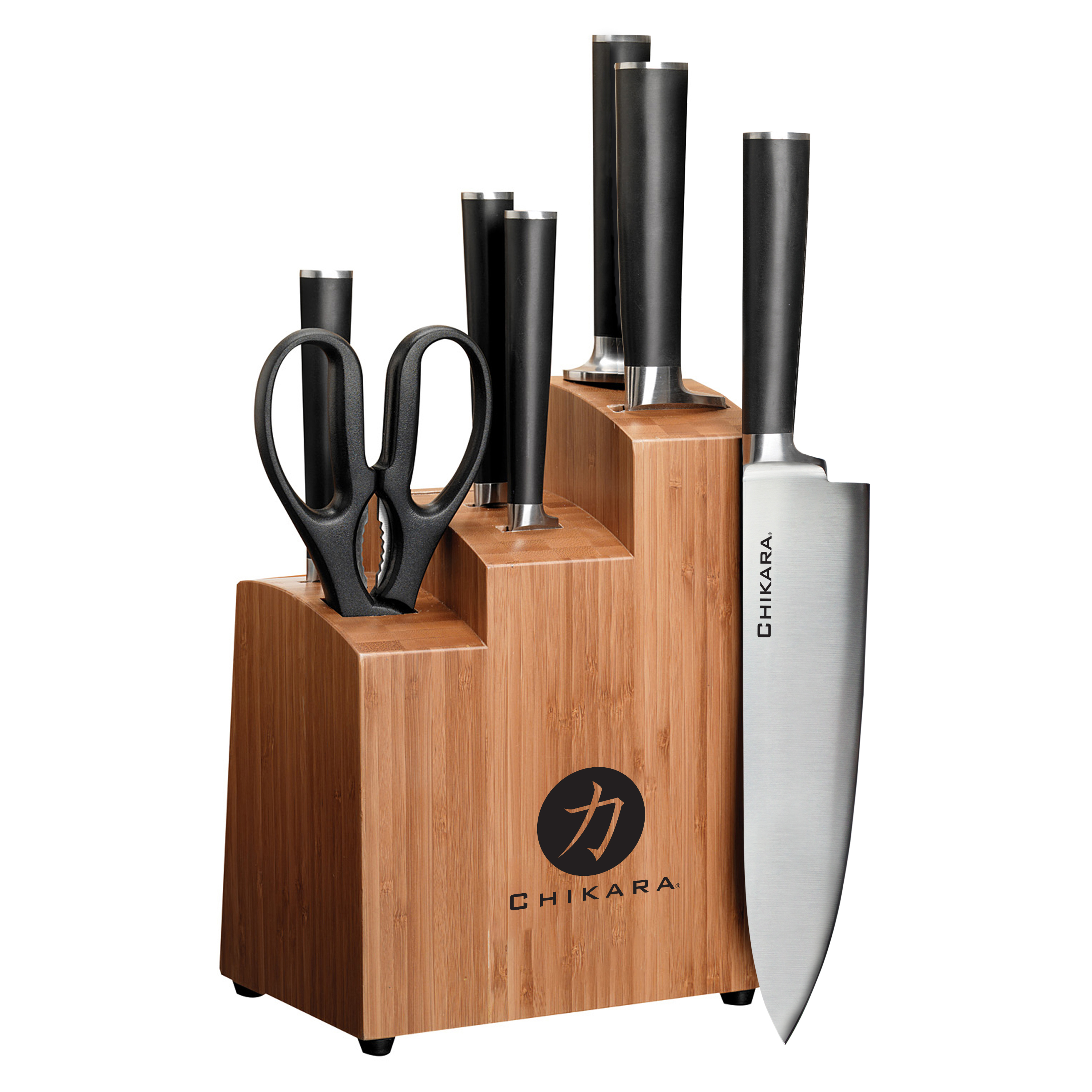 Ginsu Gourmet Chikara Series Forged 8-Piece Japanese Steel Knife Set � Cutlery Set with 420J Stainless Steel Kitchen Knives � Bamboo Finish... by Ginsu Brands a Scott Fetzer Company