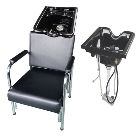 Zimtown Shampoo Bowl and Chair Combo, 0.5L Height Adjustable Lightweight Hair Backwash Basin Bowls Sink with Recline Salon Barber Chair,  Barber Shop Station Equipment