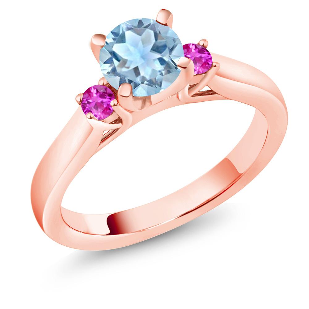 1.01 Ct Round Sky Blue Aquamarine Pink Sapphire 14K Rose Gold 3-Stone Ring by