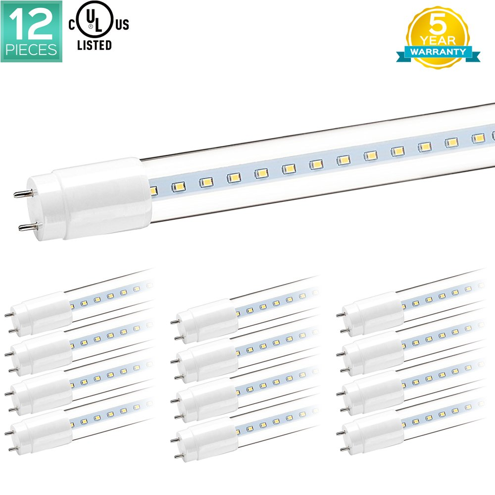 Pack of 12 Luxrite 4FT LED T8 Tube Light Bulbs, 18W (32W Equivalent), 3000K Soft White, 1900 Lumens, UL Listed, LED 4FT Tubes, G13 Base, Direct Replacement, Clear Cover