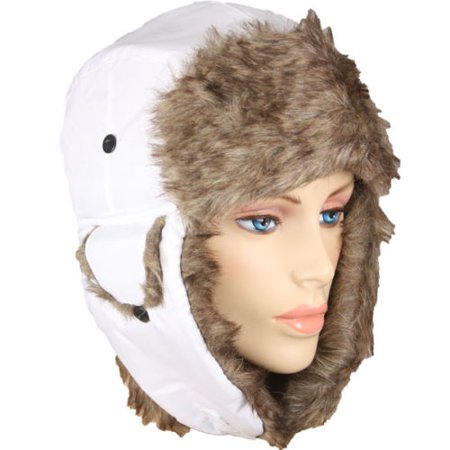 Faux Fur Pilot Hat WHITE Unisex Warm Trapper Aviator Ski Hat - Airplane Pilot Hat