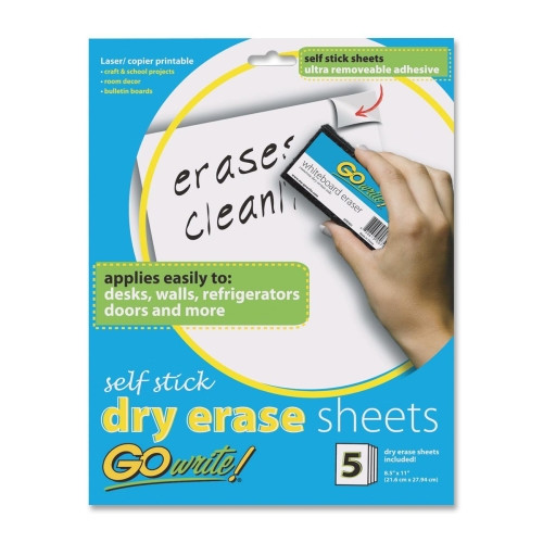 Pacon Corporation Dry-Erase Sheets, Adhesive, 8-1/2''x11'', 5 Sheets per Pack, White