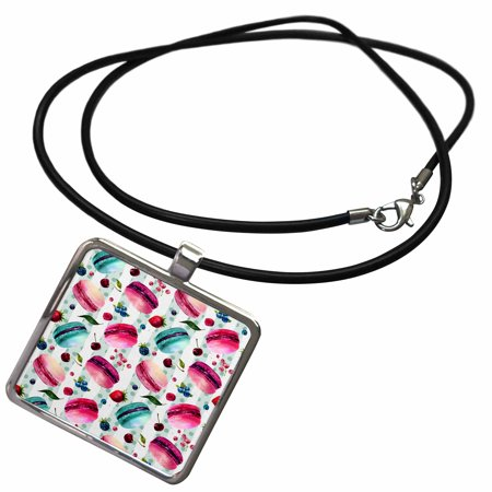 3dRose Cute Aqua and Pink Macaroon Cookies On Aqua and White Stripes - Necklace with Pendant (ncl_252891_1)