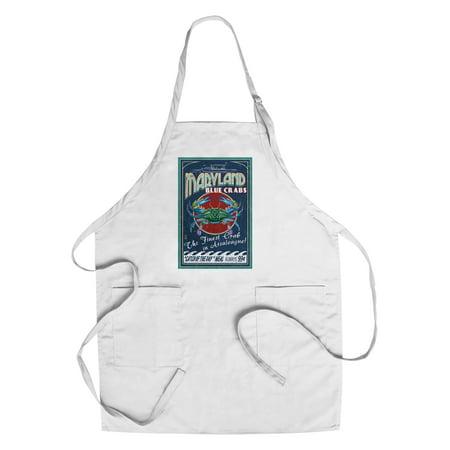 Assateague  Maryland   Blue Crab Vintage Sign   Lantern Press Poster  Cotton Polyester Chefs Apron