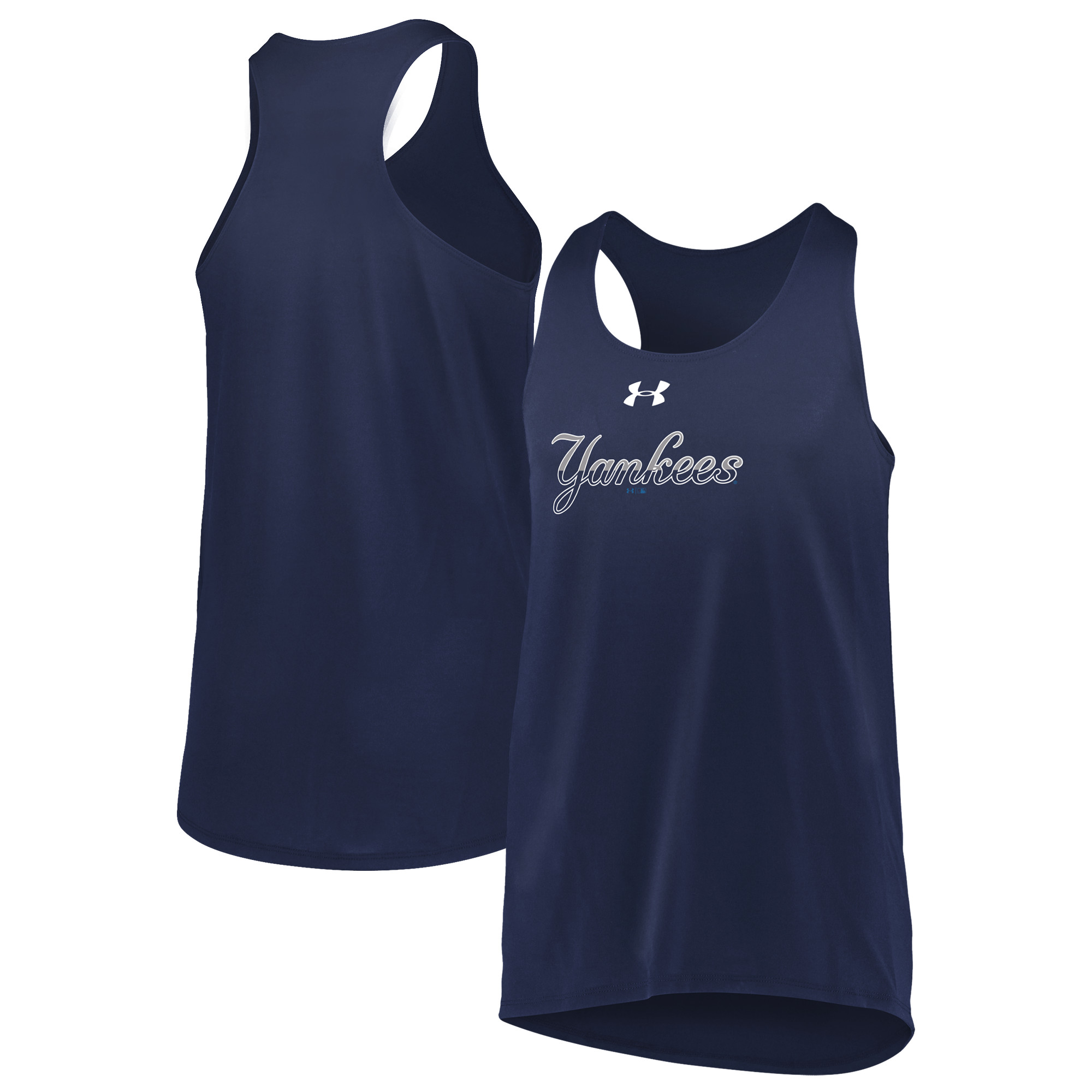 New York Yankees Under Armour Girls Youth Big Time Fan Tank Top - Navy