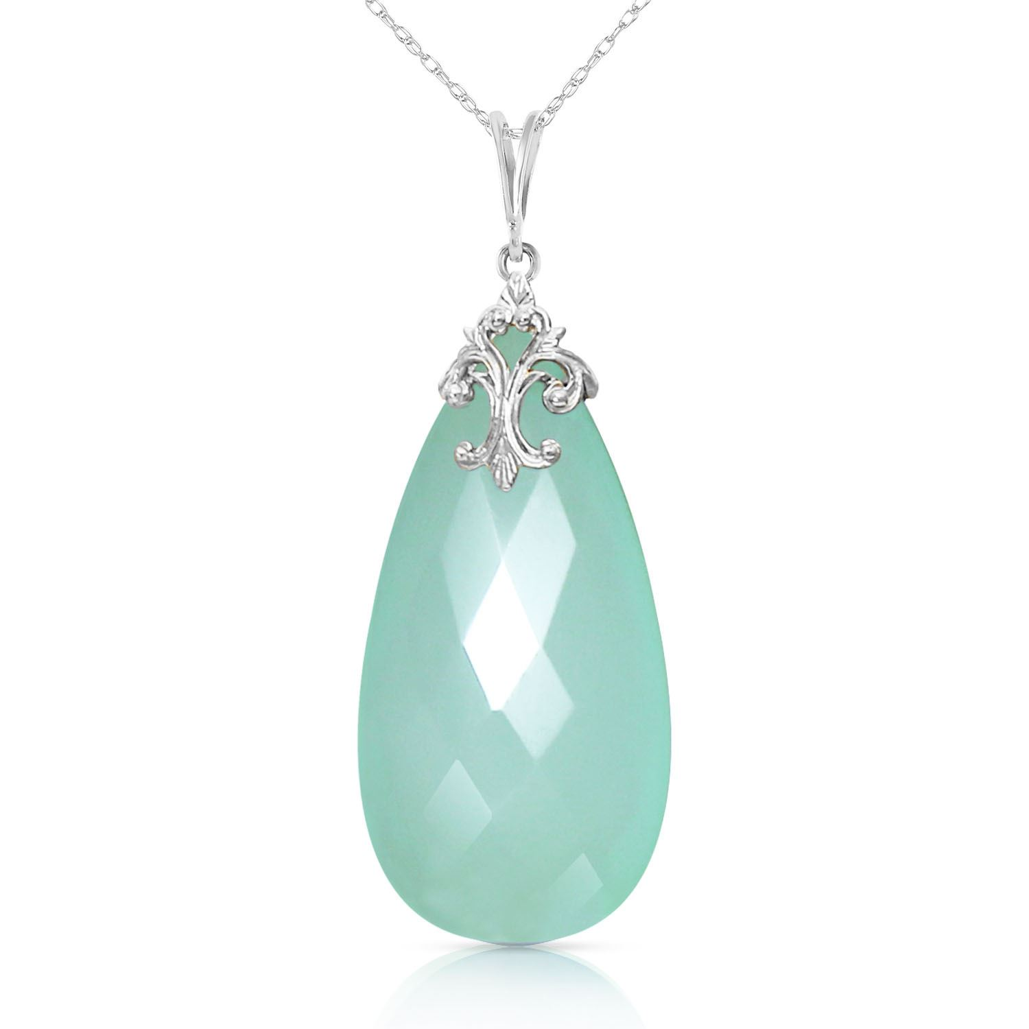 ALARRI 14K Solid White Gold Necklace with Briolette 31x16 mm Mint Green Chalcedony with 20 Inch Chain Length. by ALARRI
