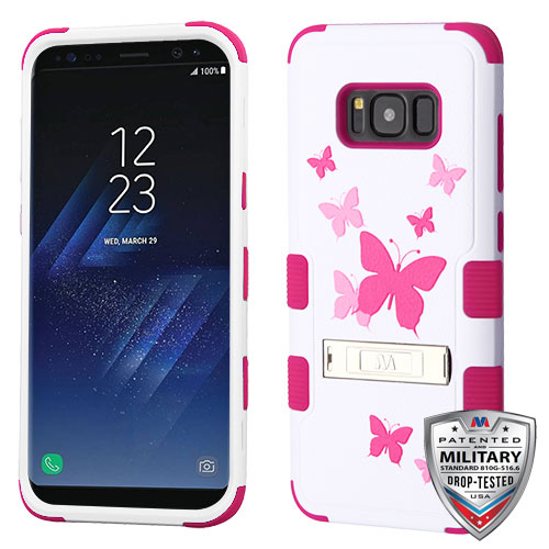 Samsung Galaxy S8 Case - Wydan TUFF Hybrid Hard Shockproof Case Kickstand Protective Heavy Duty Impact Skin Cover Pink Butterfly