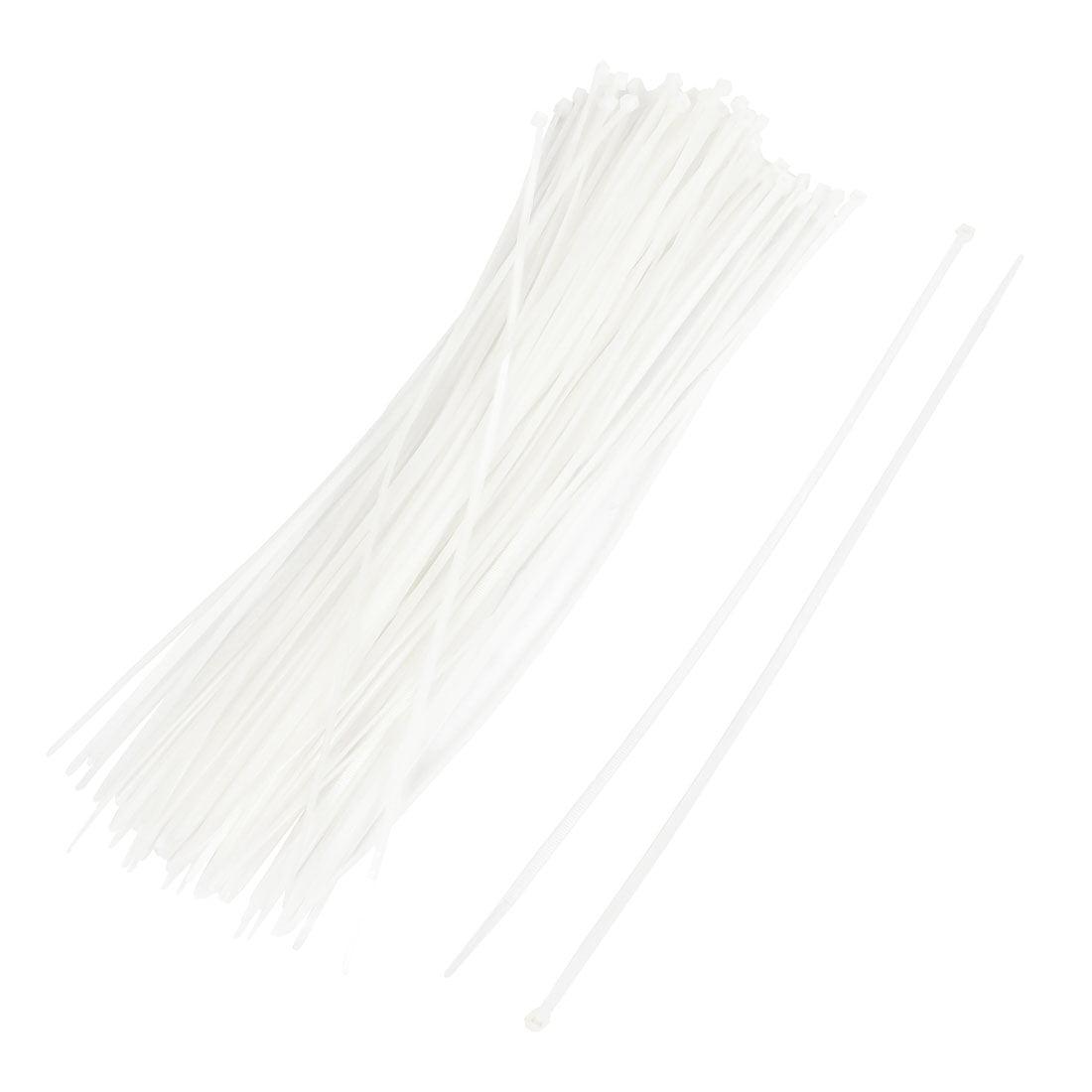 100pcs poignée crantée, Cordon Cable Attaches 3.6X350mm Blanc Bretelles - image 2 de 2