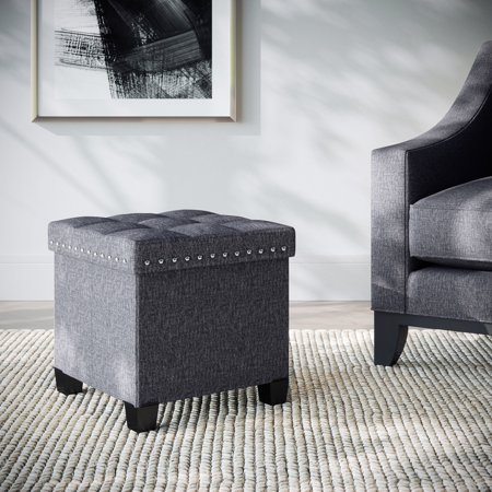 Payton Foldable Storage Ottoman Foot Rest And Seat With Feet Cube Charcoal Gray Upholstered Fabric