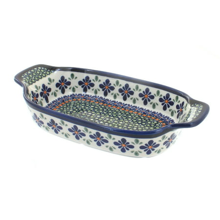 Polish Pottery Mosaic Flower Rectangular Serving Dish