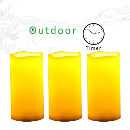 3 Piece Plastic Outdoor Battery Operated Flameless LED Pillar Candles w/ Timer 3