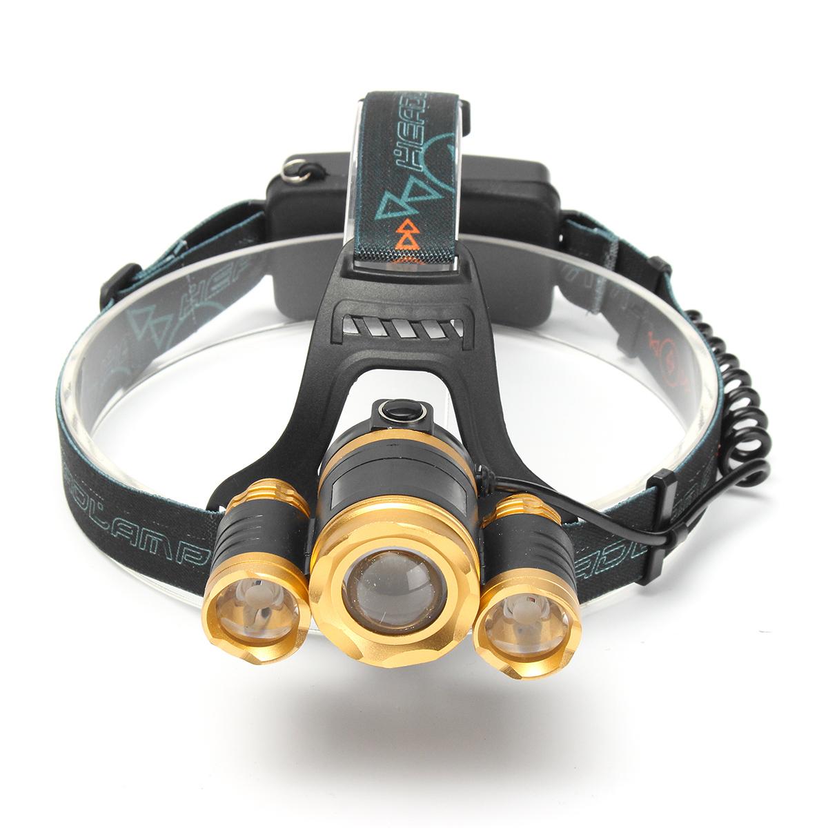 Elfeland 6000Lumens 3xT6 LED Zoomable Rechargeable Headlamp Headlight Flashlight Torch Waterproof 3 Modes (Just Headlamp)
