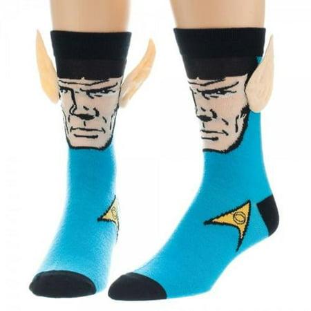 Star Trek Spock Mens Blue Crew Socks With Jumbo Ears