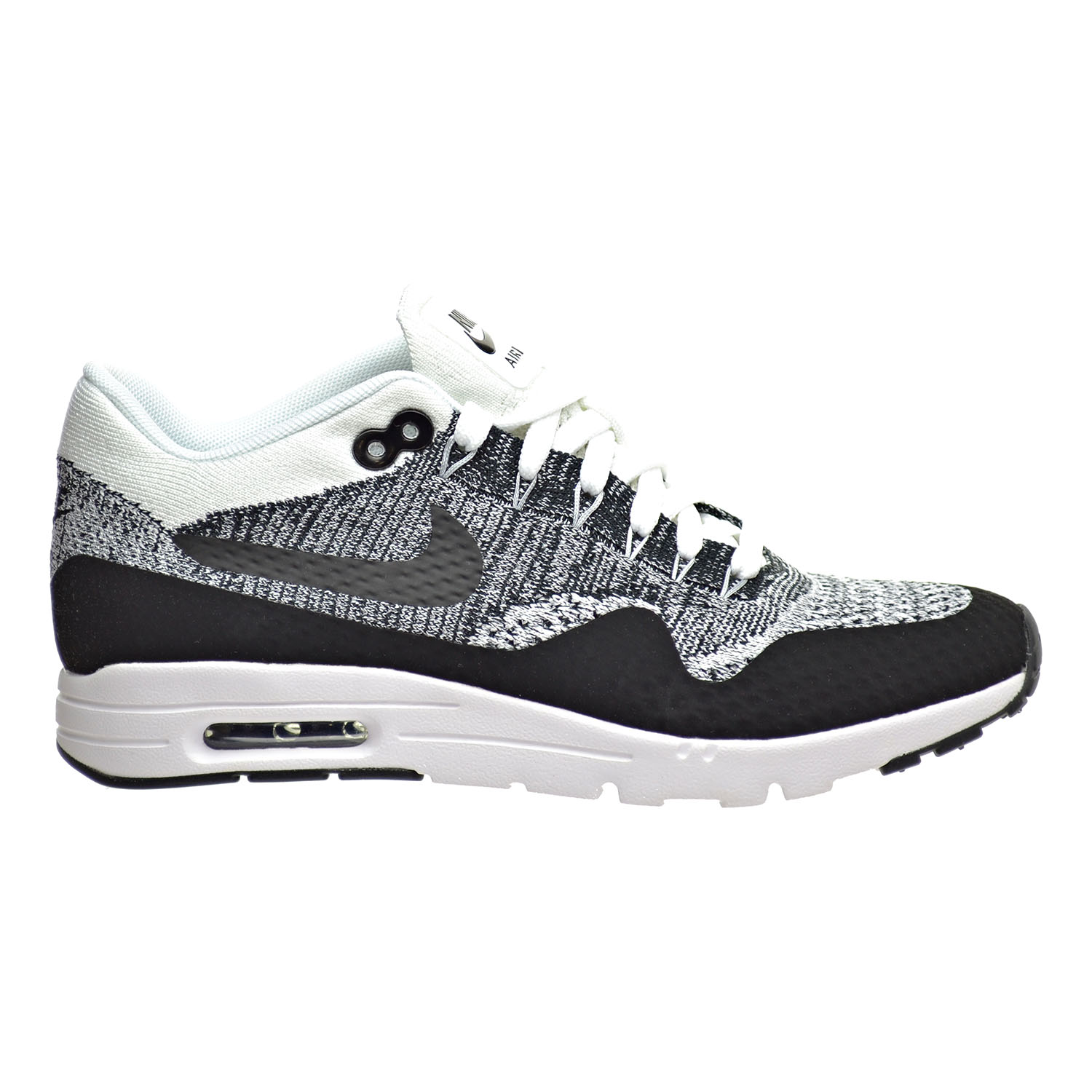 nike air max 1 ultra flyknit womens running shoes white black 843387 100