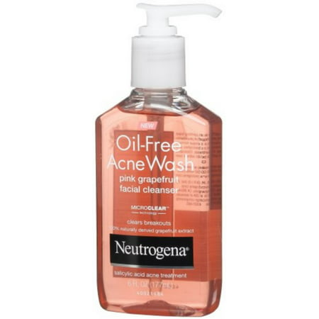 Neutrogena Oil-Free Acne Wash Face Cleanser, Pink Grapefruit 6 oz (Pack of