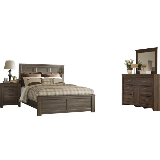 Ashley Furniture Juararo 4 Pc Queen Panel Bedroom Set Dark Brown