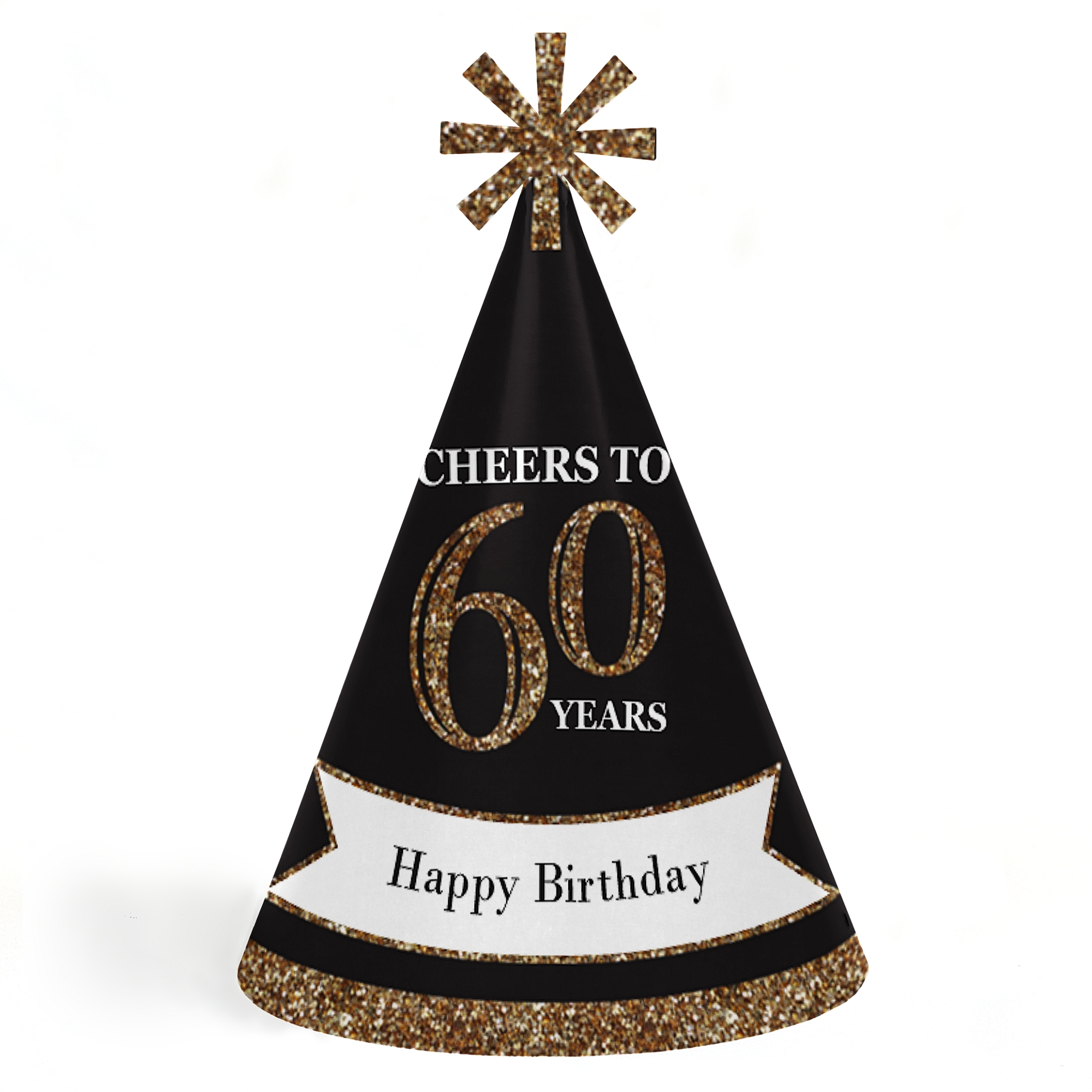 Adults 60th Birthday - Gold - Cone Birthday Party Hats for Kids and Adults - Set of 8 (Standard Size)