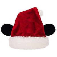 Disney Boys Girls' Mickey Mouse Minnie Mouse Plush Santa Hat with Ears (Mickey)