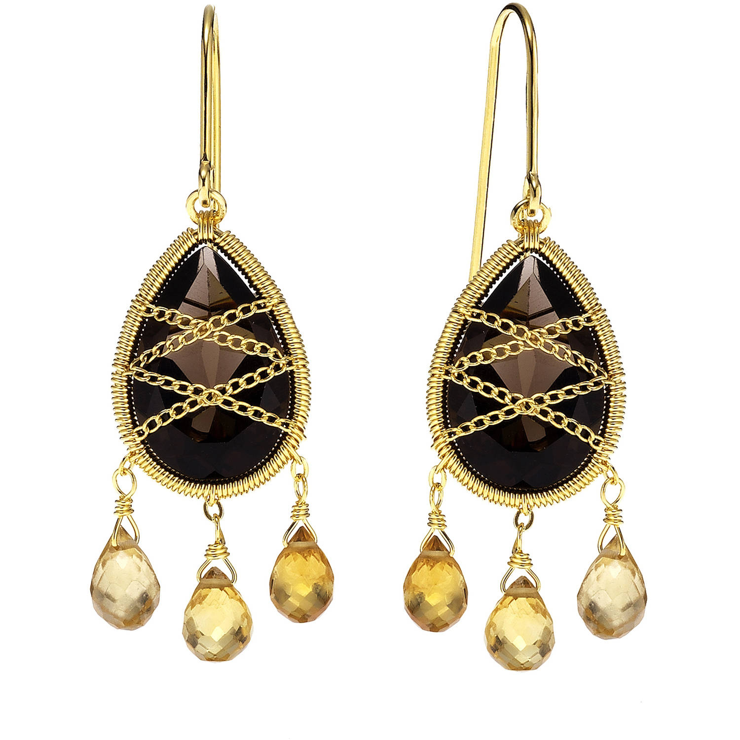 Image of 5th & Main 18kt Gold over Sterling Silver Hand-Wrapped Teardrop Chandelier Smokey Quartz and Citrine Stone Earrings