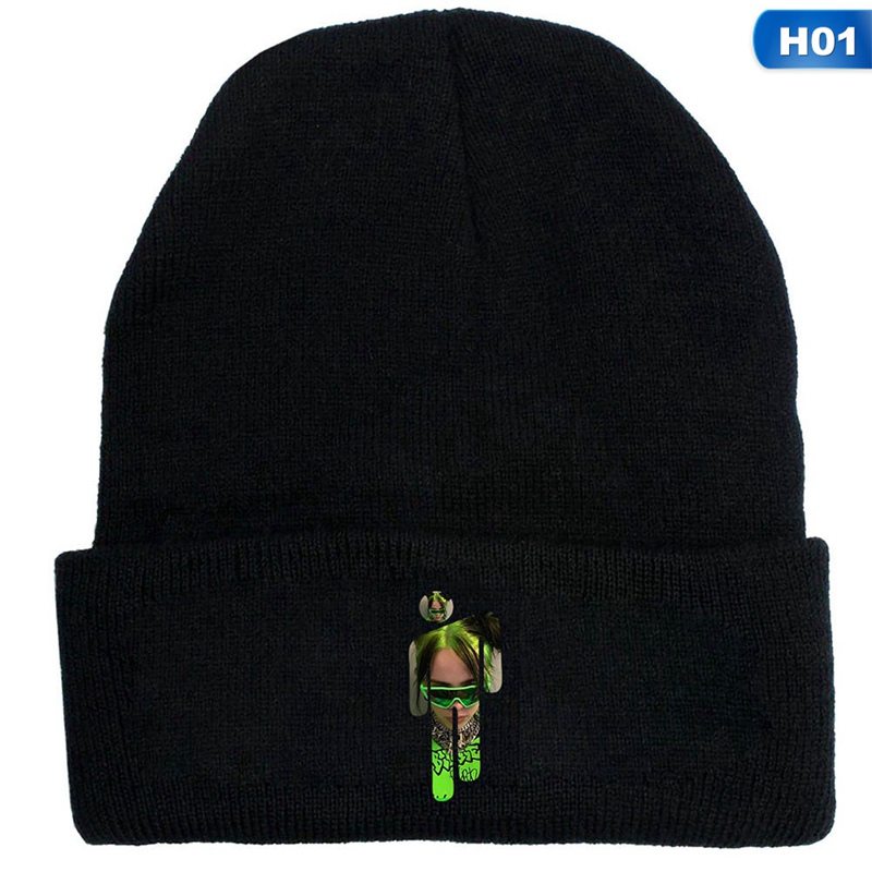 Billie Eilish black beanie with Billie Eilish image printed over blohsh in green