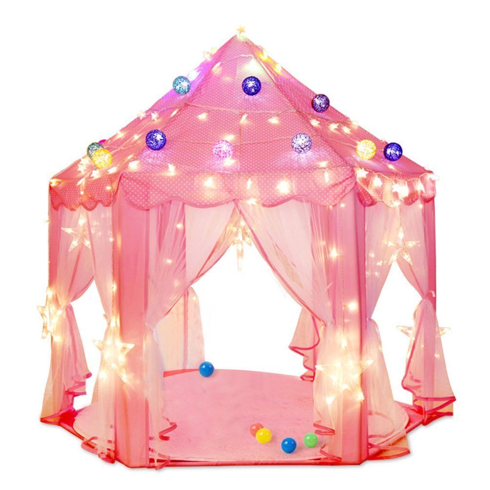 Estink Kids Play Tent Pink Hexagon Princess Castle Playhouse for Girls Children Play Tent With  sc 1 st  Walmart : girls tent - memphite.com