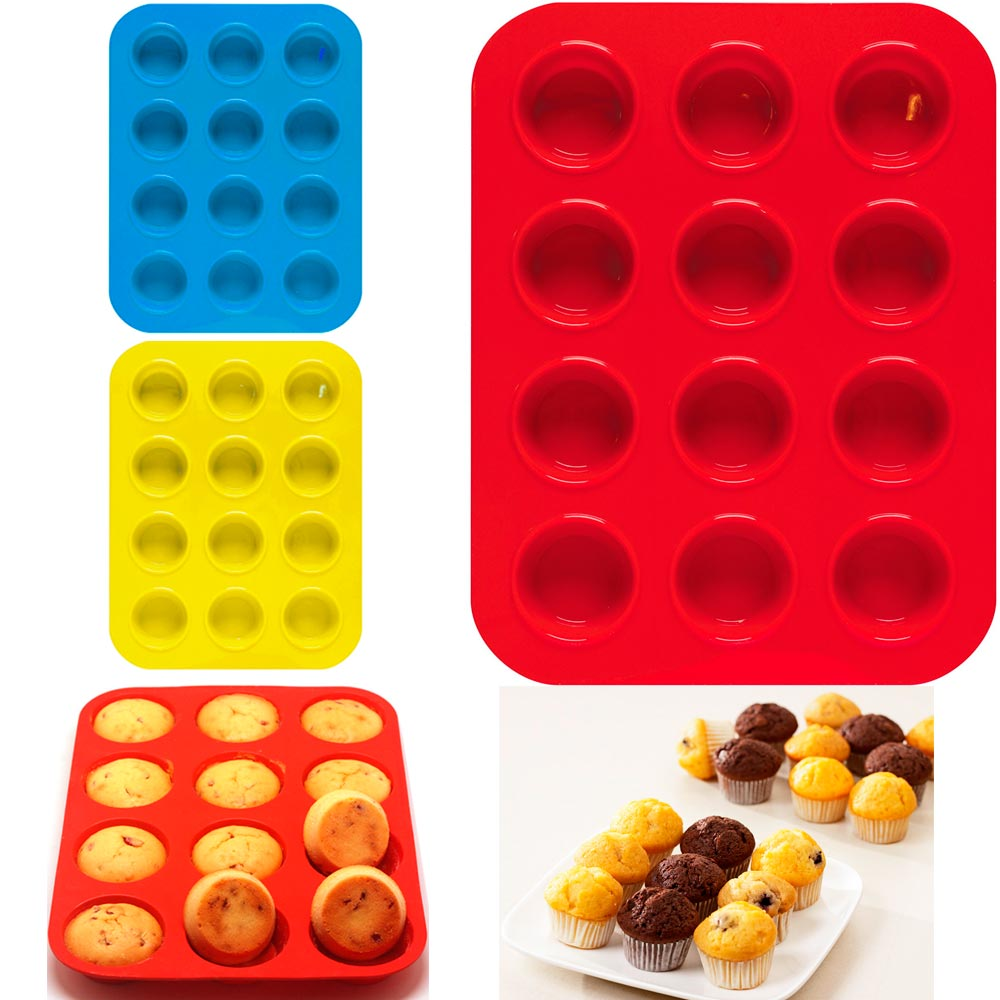 Click here to buy 1 Mini Muffin Silicone 12 Cup Cavity Cookie Cupcake Bakeware Pan Soap Tray Mold by KOLE IMPORTS.