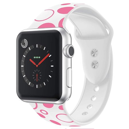 Galaxy Wireless Apple Watch Bands 38/40mm, Silicone Wristband for iWatch Apple Watch Series 1/2/3/4/5/Nike+ - White Polka Dots DescriptionCompatible: Apple Watch 38/40mm Series 5,Series 4,Series 3, Apple Watch Series 2, Apple Watch Series 1, Apple Watch Nike+, Apple Edition, Apple Watch Herms.High quality silicone material which is skin-friendly, soft and durable for your daily wearing.Easy Adjustment: The Sport Loop band features a hook-and-loop fastener for quick and easy adjustment. 38/40mm loop band fits wrist size from 5.12-7.48 inch.The stainless steel buckle ensure the band security, avoid the band from falling off band being loose.Compatible with All Apple Watch 38/40mm Models: Suitable for Apple Watch Series 5, Series 4, Apple Series 3, Apple Watch Series 2, Apple Watch Series 2, Apple Watch Nike+, Apple Edition, Apple Watch Hermes. One year hassle free for any quality related issues, please contact us where is any problems.