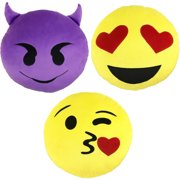 emoji expressions 3 piece emoji pillow set