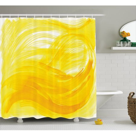 Yellow And White Shower Curtain  Painting Style Brushstroke Twist Abstract Artistic Monochrome Wave  Fabric Bathroom Set With Hooks  69W X 75L Inches Long  Yellow Marigold  By Ambesonne