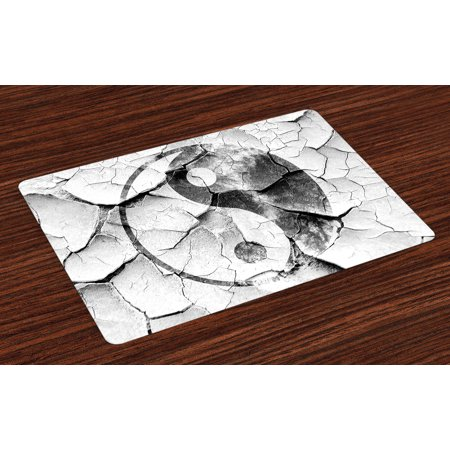 Ying Yang Placemats Set of 4 Grunge Cracked Yin Yang Sign on the Wall Graphic Art Union Asian Zen, Washable Fabric Place Mats for Dining Room Kitchen Table Decor,Charcoal Grey Silver, by Ambesonne