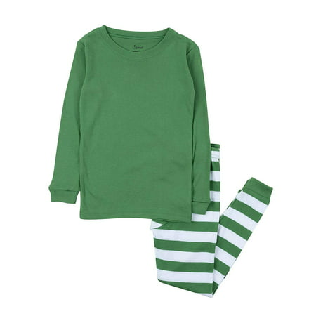 Christmas Pjs For Kids (Leveret Kids & Toddler Boys Pajamas Christmas 2 Piece Pjs Set 100% Cotton (Size 6 Years, Green Top &)
