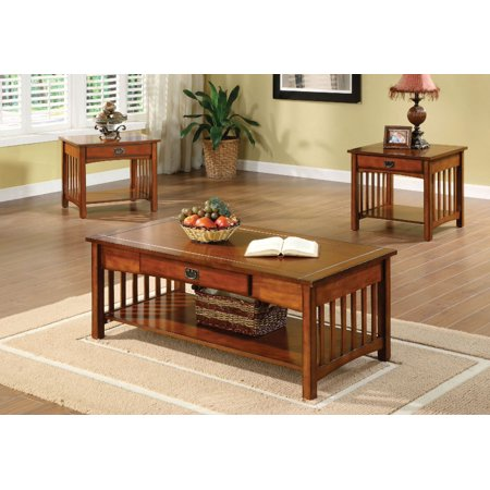 Excellent Simple Relax 3Pc Seville Mission Style Living Room Cocktail Coffee End Table Set Antique Oak Interior Design Ideas Philsoteloinfo