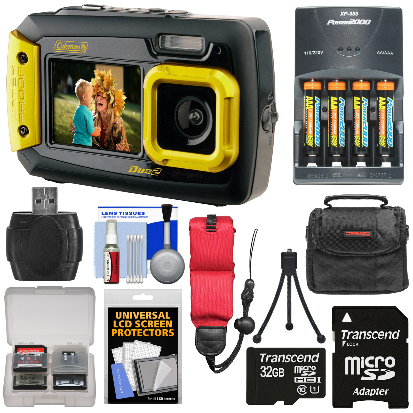 Coleman Duo 2V9WP Dual Screen Shock & Waterproof Digital Camera (Yellow) with 32GB Card + Batteries & Charger + Case + Float Strap + Kit