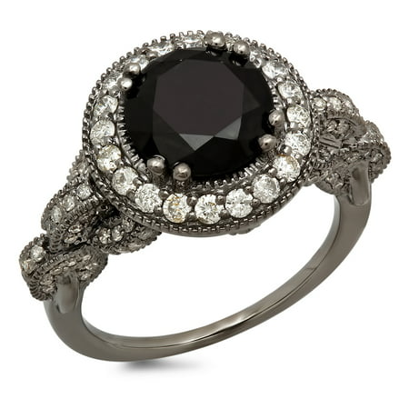 Dazzlingrock Collection 4.25 Carat (ctw) Black Rhodium Plated 18K Black & White Diamond Vintage Halo Ring, White Gold, Size 6