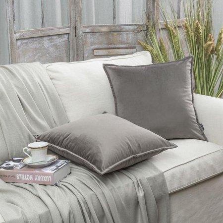 "Phantoscope Soft Trimmed Velvet Series Decorative Throw Pillow, 18"" x 18"", Gray, 2 Pack"