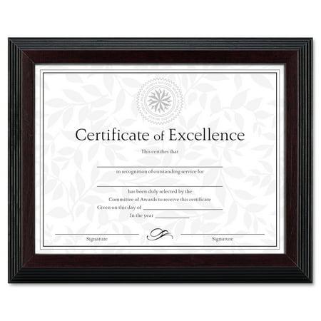 DAX Stepped Award/Certificate Frame, 8 1/2 x 11, Black w/Walnut Trim ...