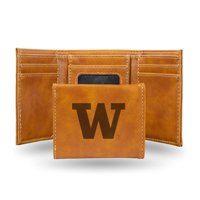 Washington Huskies NCAA Laser Engraved Brown Synthetic Leather Trifold Wallet