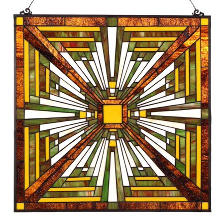 Bieye W10023 24 inches Pharaoh's Jeweled Tiffany Style Stained Glass Window Panel with Hanging -
