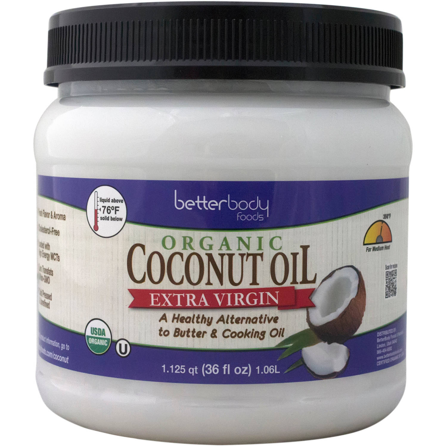 BetterBody Foods Extra Virgin Organic Coconut Oil, 36 fl oz