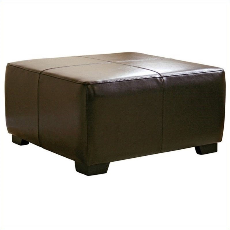 Baxton Studio Square Ottoman Footstool in Dark Brown by Baxton Studio