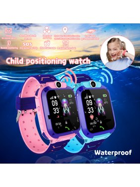 New Kids Smart Watches with GPS Phone Call for Boys Girls Digital Wrist Watch Sport Smart Watch Touch Screen Cellphone Camera Anti-Lost SOS Learning Toy for Kids Gift (Blue&Pink)