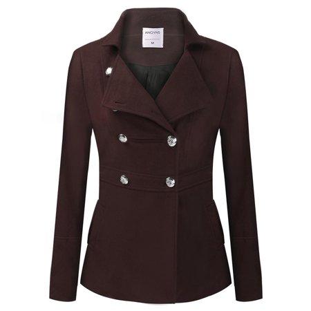 Women Fashion Long Sleeve Double Breasted Solid Long Wool Blend Coat Warm Outerwear Overcoat