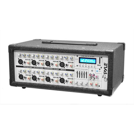 Pyle 8-Channel 800 Watt BT Mixer with USB and SD Card Readers