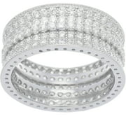 CZ 18kt White Gold over Sterling Silver Band Ring